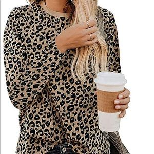 lamibaby Leopard Print Long Sleeve Crew Neck Top